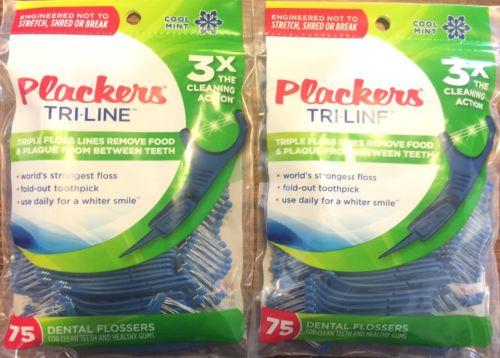 2 Bags Plackers Tri-Line Cool Mint Dental Flossers 75 ct Pack Triple Floss