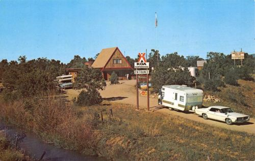 Durango Colorado~Pinon Acres KOA~Campgrounds~1960s Car Pulls Travel Trailer~PC
