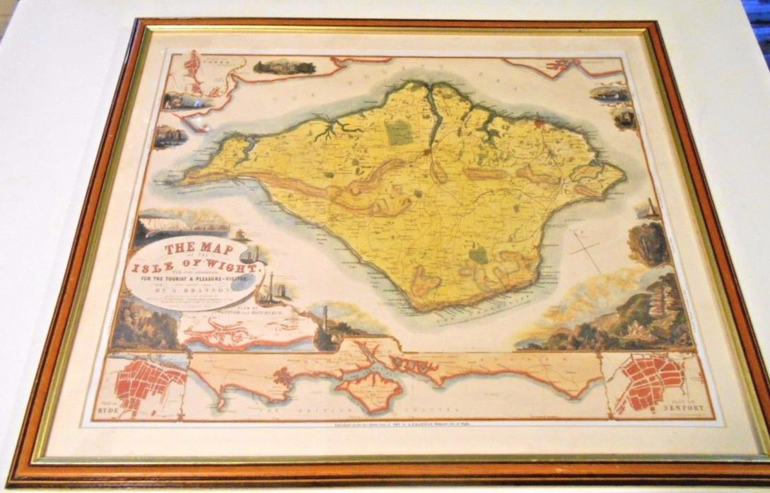 Framed Antique Map of the Isle of Wight 1862 by A. Brannon