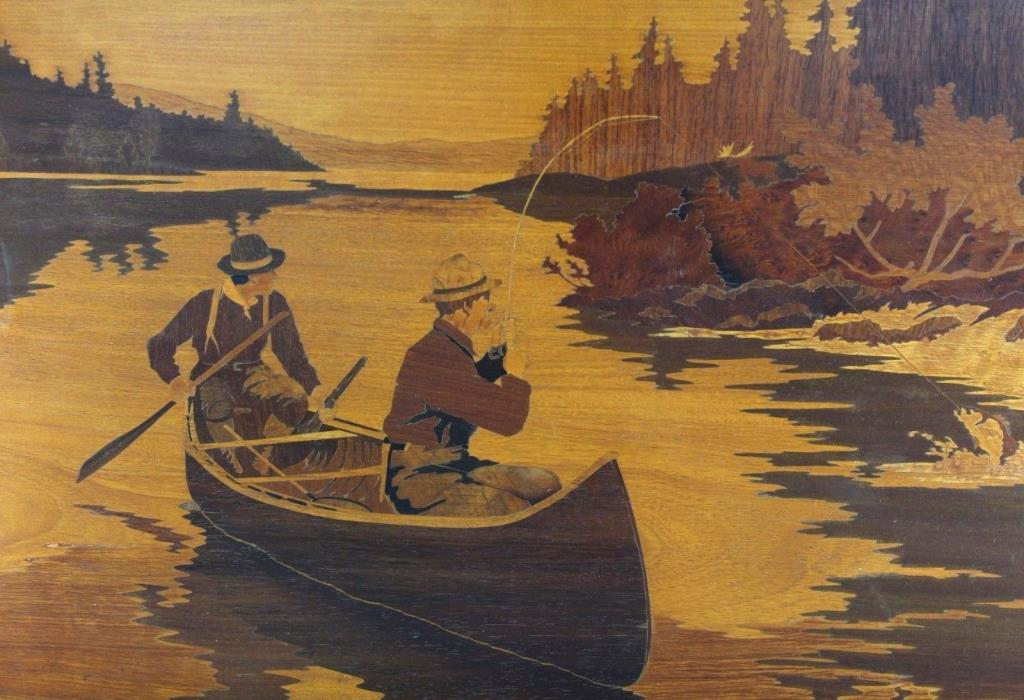 Vintage Marquetry Inlay Wood Fishing Scene Large 28 x 20 Wall Hanging Art