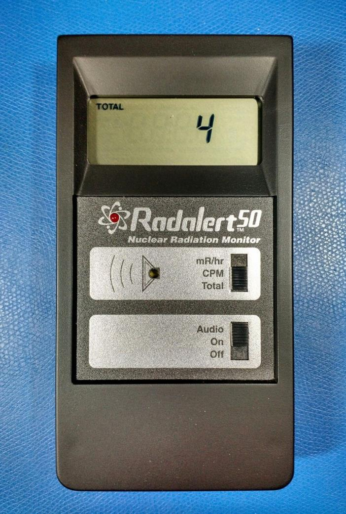 RADALERT 50 DIGITAL NUCLEAR RADIATION MONITOR with CASE, BATTERY, & MANUAL