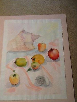 Watercolor print of shells and fruit
