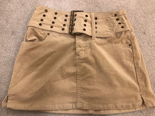 Women's Juniors Tan Corduroy Beige Mini Skirt Bubblegum USA SIZE 1 2 1/2 Belted