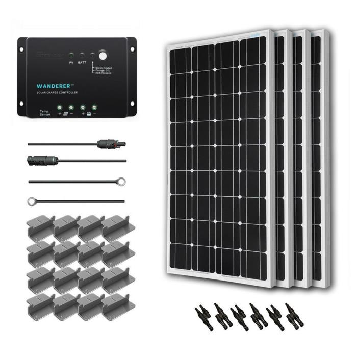 Solar Panel Kit For Homes Clean Power Energy System 400W Monocrystalline 12V