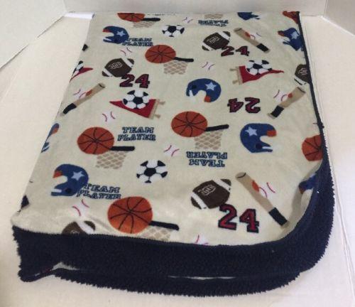 Circo Sports Baby Blanket Navy Tan Sherpa Basketball Football Baseball Soccer