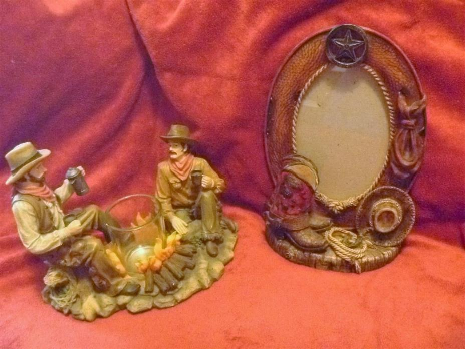 Cowboy Campfire Figurine and Cowboy Theme Picture Frame Collectibles Western