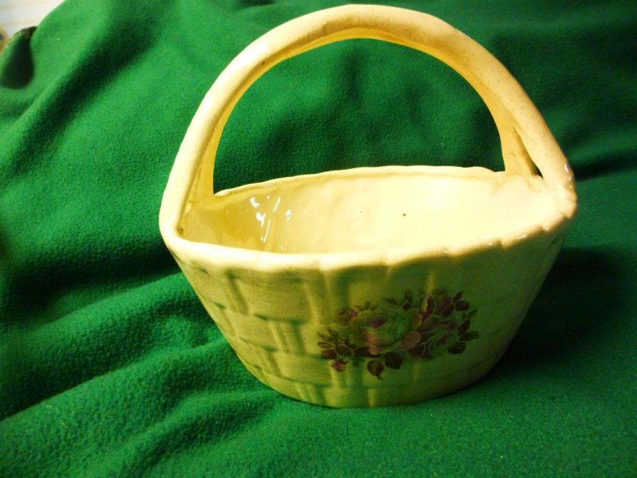 Ceramic Basket - Ivory w/Tiny Flecks & Pink/Burgandy Rose - 8