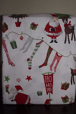New Pottery Barn Kids Santa & Friends Christmas flannel twin sheet set *no p/c