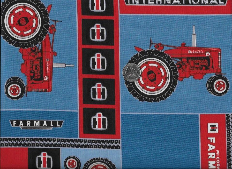 RED Farm Tractor Cotton Fabric International Farmall Quilt Craft Sew 1 Yard!