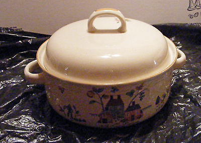 Vintage International Stoneware COVERED CASSEROLE  (7774) Fruits Floral with Cow