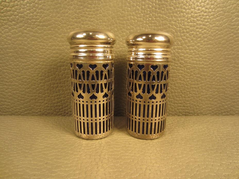 Pair of English Cobalt Blue Silver Plated Salt & Pepper Shakers by TB