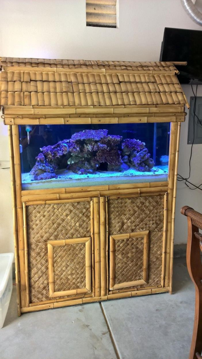 BAMBOO AQUARIUM STAND, CANOPY AND GLASS 90 GAL TANK