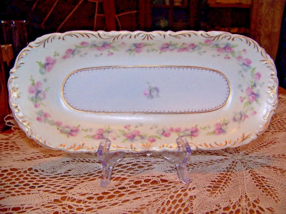 PINK ROSES SHABBY CHIC VINTAGE OBLONG HAND PAINTED CHINA SERVING DISH  12