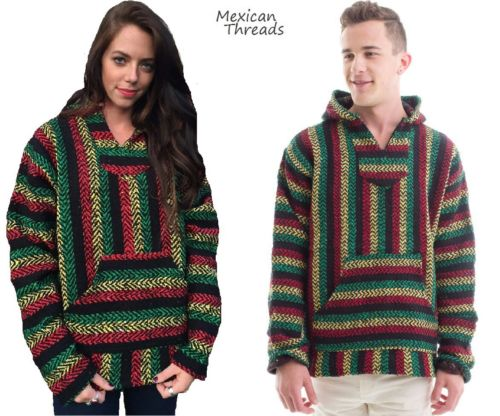 Mexican poncho baja hoodie rasta colors