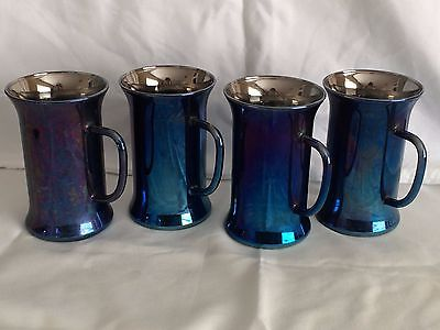 Lot of 4 Rare Antique Collectible Mercury Glass Handled Mugs Blue