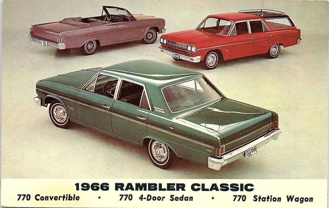 1966 Rambler - Convertible, Sedan, Station Wagon -  Postcard - Vintage