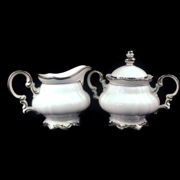Hutschenreuther Selb Sylvia Revere Pasco White Platinum Trim Sugar and Creamer