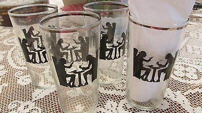 HALL SILHOUETTE 4  JUICE GLASSES