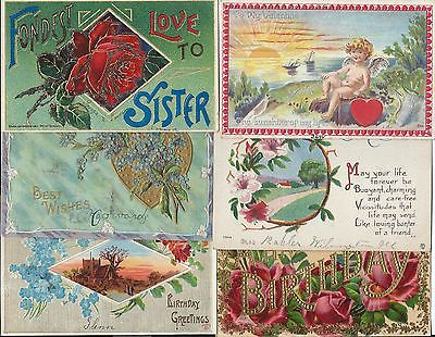 Vintage 1900s Greeting Post Cards 6 Cards Valentine / Birthday Divided Unposted