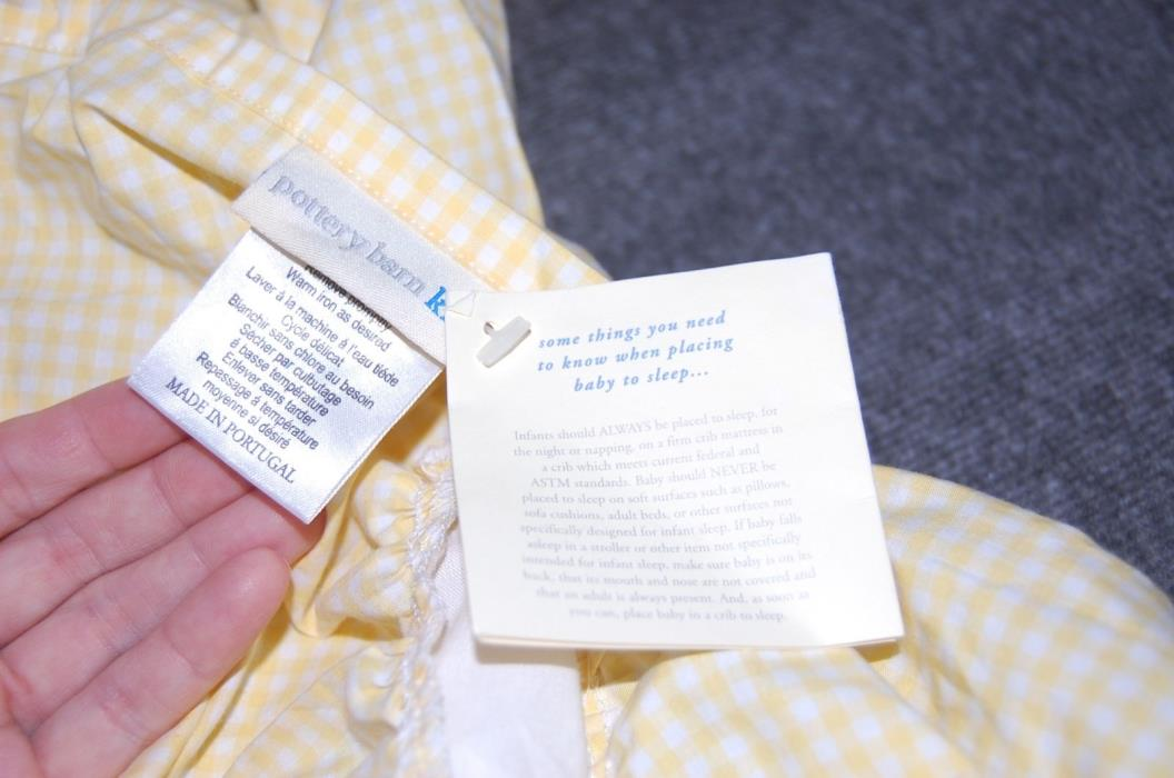 Pottery Barn Kids NWT Crib Skirt YELLOW GINGHAM Dust Ruffle Baby Nursery