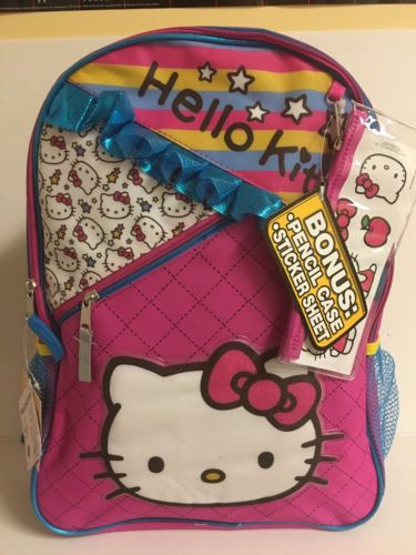 New With Tag! Hello Kitty Ruffle Backpack With Bonus Pencil Case!