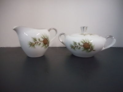 Fine Seyei China Pine Cascade Creamer and Covered Sugar Bowl Mid Century