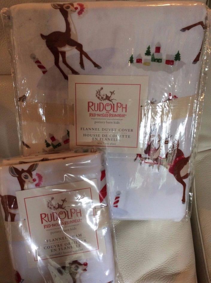 Pottery Barn Kids Rudolph Flannel Twin Duvet & 1 Std Sham NIP! Christmas Holiday