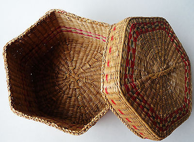 Sweetgrass basket & lid hexagon ethnic hand made 6