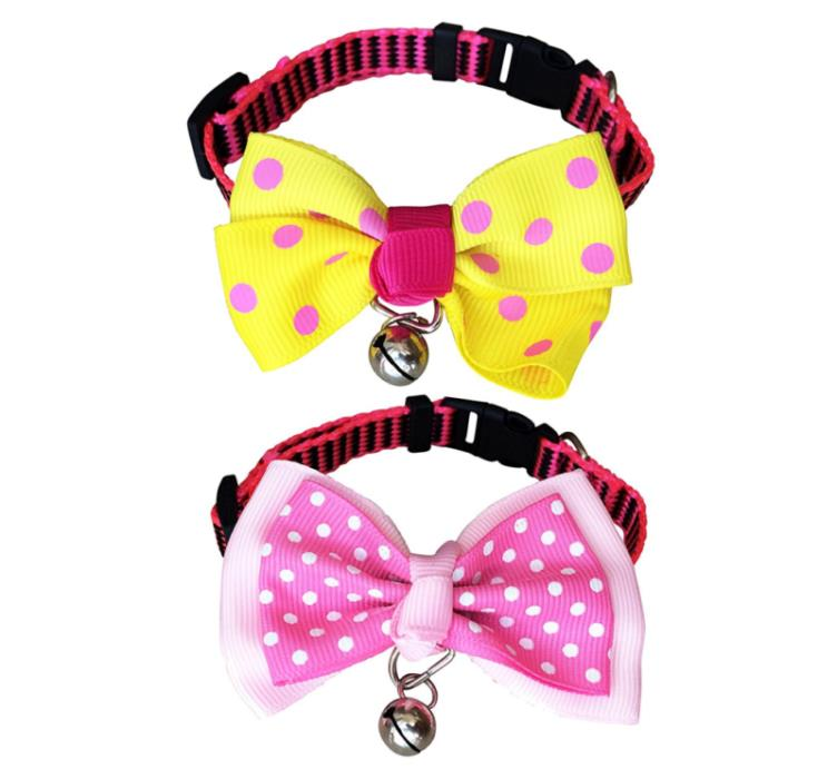 FUNPET 2 Pack Nylon Adjustable Cat Collar Breakaway with Fashion Dots Bow Tie an