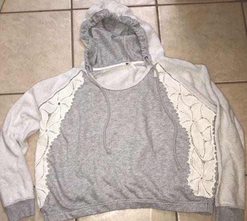 Womens Free People Gray Cream Crochet Hooded Sweatshirt Size Small