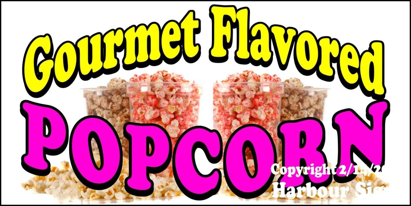 (CHOOSE YOUR SIZE) Gourmet Flavored Popcorn DECAL Concession Food Truck Sticker