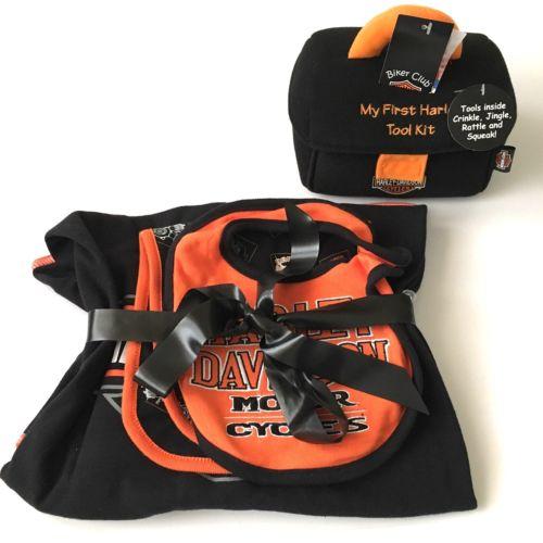 Harley-Davidson Baby Gift Set Receiving Blanket Bib First Tool Kit Burp Cloth