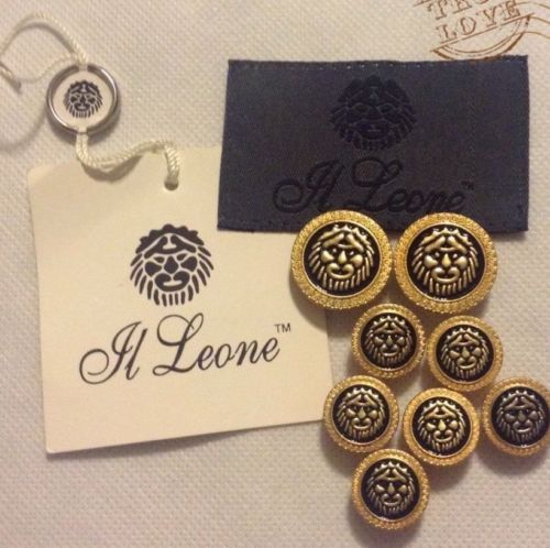 8 Reclaimed El Leone Gold & Black Enamel Lion Face Metal Buttons Lot 1420