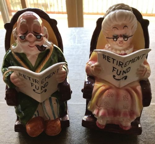 2 Piece Set - Lefton Grandma and Grandpa Retirement Fund Piggy Banks