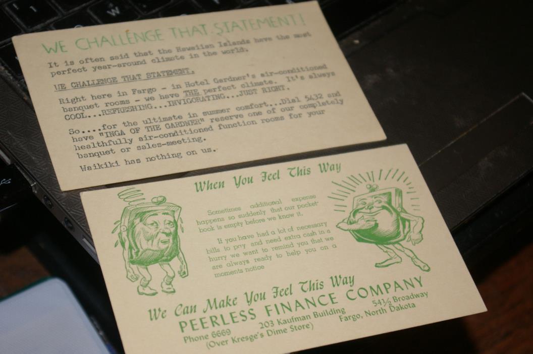 2 Old Fargo North Dakota Advertising Postcards Hotel Gardner Peerless Finance