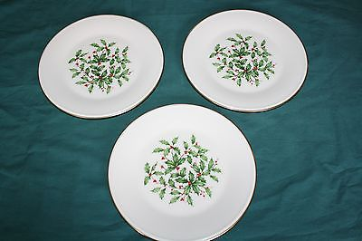 3 Lenox Christmas Holly & Berry 8 inch Bread & Butter or Dessert Plates Special
