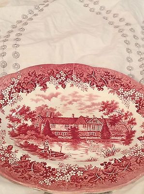 J & G Meakin Romantic England Red Serving Platter Ightham Mote Kent 1485