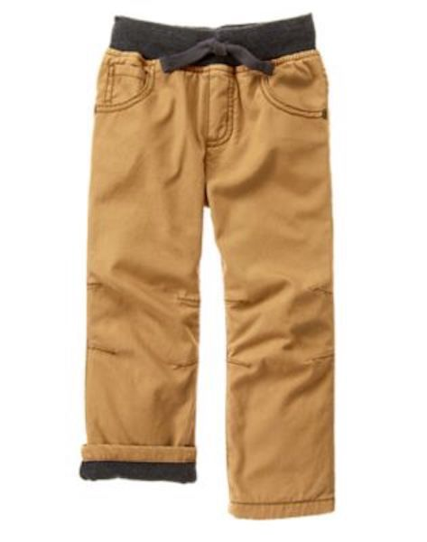 NWT Gymboree Boys Pull on Pants Khakis Jersey Lined Straight Huddle up BTS
