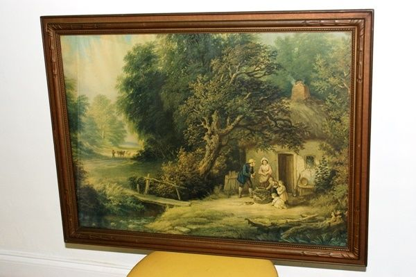 ANTIQUE LARGE  PRINT ENGRAVING OLD COUNTRY LANDSCAPE WITH FRAME / GLASS.. N/R