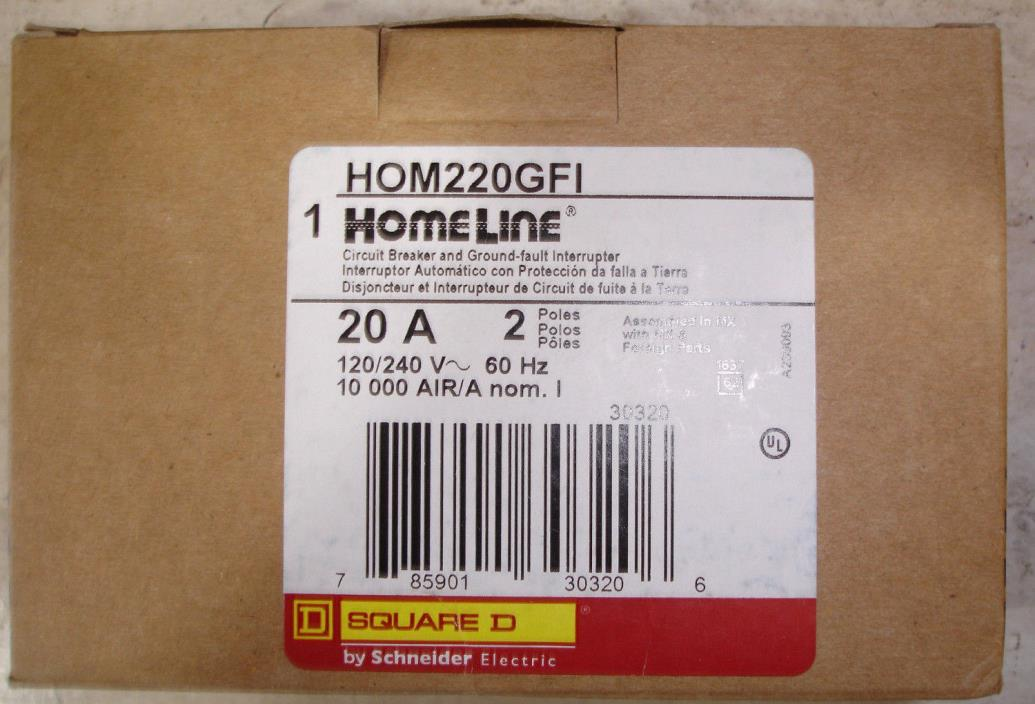New Square D Homeline HOM220GFI 20 amp GFI Ground Fault Circuit Breaker