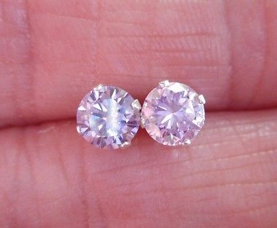 EARRING PAIR SILVER  1.00 TCW  .50 CT 5.50 MM FANCY PRECIOUS PINK MOISSANITE **