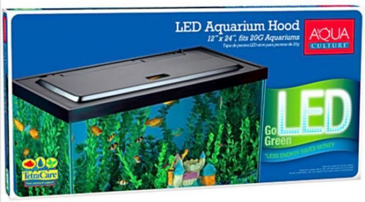 AQUA CULTURE LED AQUARIUM HOOD FOR 20/55 GALLON AQUARIUMS FISH TANK LIGHTS (New)