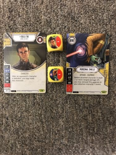 Star Wars Destiny: Bala-Tik #19 (Awakenings) & Personal Shield #24 (SoRebellion)
