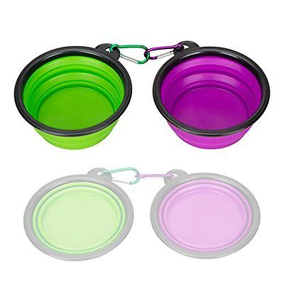 Collapsible Silicone Pet Bowl,set of 2, IDEGG, Food Grade Silicone BPA Free, Cup