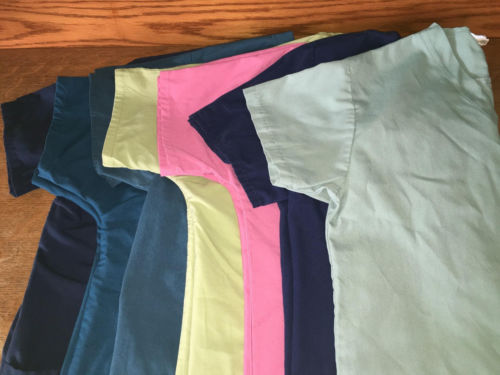 Lot 7 medical dental scrubs nurse vet tops S basic v-neck pink blue green black