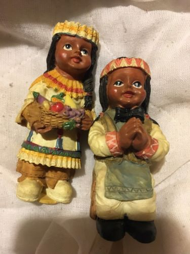 Cute Pair of NATIVE AMERICAN CHILDREN Figurines