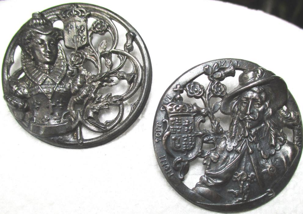 1940s FRENCH WHITE METAL~lot of 2