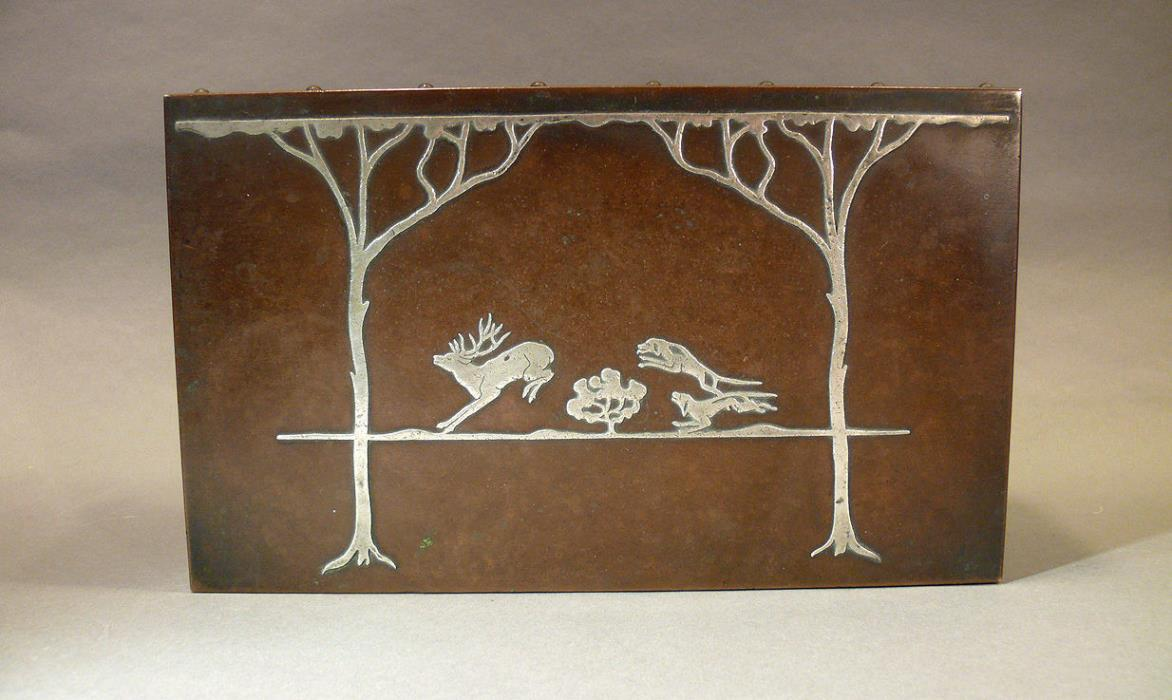 Heintz Art Metal Shop Sterling on Bronze Humidor Box Hunting Scene Fox Dogs Wood