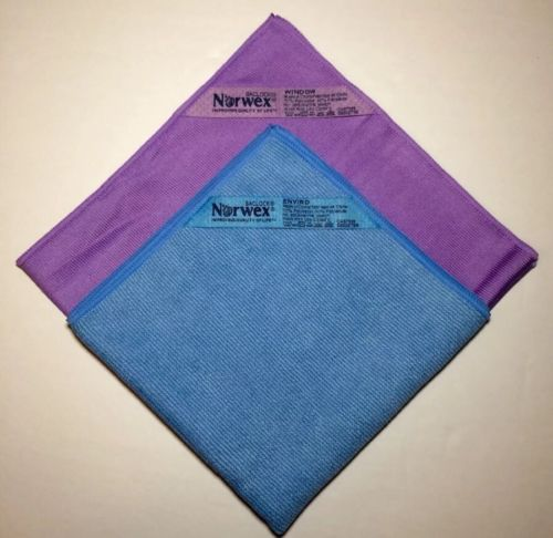 Norwex Basic Package 1 Blue EnviroCloth & PurpleWindow Cloth  Microfiber NEW!!