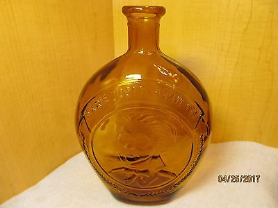 Antique Layfatte Hand Blown Golden Amber Brown Flask Liquor Bottle
